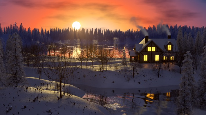 3D-Rendering: Winterlandschaft